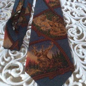 Ralph Lauren Hand Made Christmas Men's Tie Elk Fox